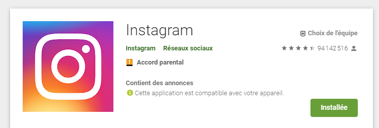 Réinstaller instagram