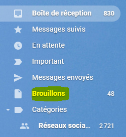 Brouillon email